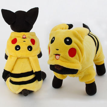 Dogs Clothes Cute Cartoon Pikachu Design Cosplay Pets Costume Dog Clothing For Cats Puppy Hoodie Winter Warm Coat
