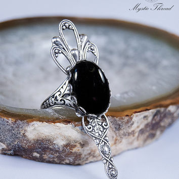 Black agate gem gothic victorian ring-gothic ring-victorian ring-jet black ring-adjustable ring-silver ring
