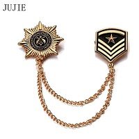 JUJIE Vintage Navy Metal Brooches For Men 2020 Military Star Shield Collar Chapter Brooch Pins Chain Enamel Jewelry Dropshipping