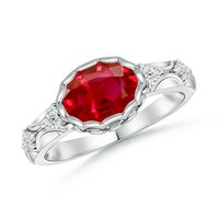 Bezel Ruby and Diamond Vintage Inspired Ring