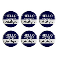 Aidyn Hello My Name Is Plastic Resin Button Set of 6