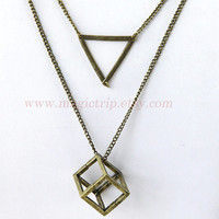 Cube necklace, Square Necklace, triangle necklace, antique brass Geometric necklace, Geometric Jewelry