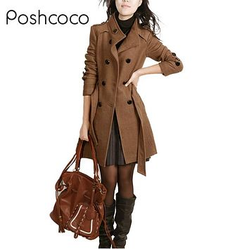 Brand High Quality Designer Burderry Women Long Double Breasted Slim Trench Coats 2017 Autumn Warm Winter Womens  Woolen Coat