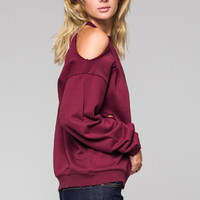Cold Shoulder Destroyed Sweat Shirt