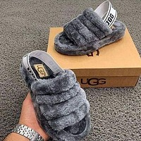 Gray UGG Winter High Quality Classic Popular Women Casual Fluff Yeah Slippers Shoes