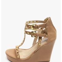 NUDE Vivian Studded T-strap Wedges | $10.00 | Cheap Trendy Wedges Chic Discount Fashion for Women |