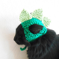 Knit Cat Hat  - Cat Dinosaur Hat - Cat Dinosaur Halloween Costume - Pet Halloween Costume - Cat Photo Prop - Christmas Gift for a Cat Lover
