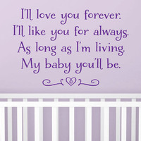 """Wall Vinyl Nursery Quote - """"Love You Forever"""" (36"""" x 22"""")"""