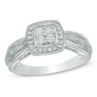 Quad Diamond Accent Square Frame Promise Ring in Sterling Silver|Zales
