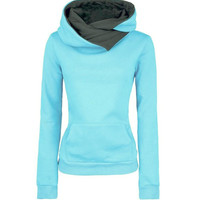 Casual Long Sleeve Front Pocket Hooded Jacket