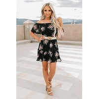 Pay My Dues Off The Shoulder Floral Dress (Black Multi)