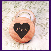 Custom Personalized Engraved Wedding Proposal Round Wood Ring Box, Heart Initials Design #2