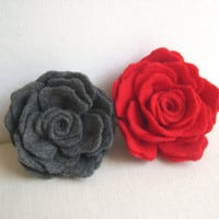 Grey or Red Rose Flower Pin - Graduation gift - Red Bridesmaid accessory - Bridesmaid Hairstyle - Delicate Felted Rose Hairpin