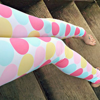 Candy button pastel polka dot Leggings pants lycra fairy kei