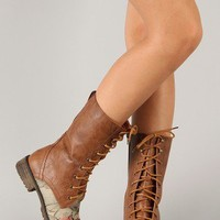 Lug-22F Lace Up Floral Military Mid Calf Boot