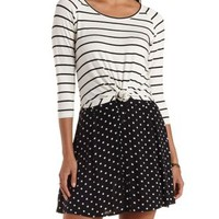 Black Combo Knotted High-Low Striped Top by Charlotte Russe
