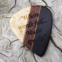 Handmade Multi-Wood Premium Guitar Pick - Actual Pick Shown - Artisan Guitar Pick - Engraved Both Sides - See Pics