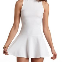 DROPPED WAIST MOCK NECK SKATER DRESS