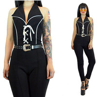 vintage 70s bodycon jumpsuit black lace up sleeveless disco pantsuit one piece catsuit 1970s cocktail party high waisted skinny pants XS