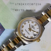 Rolex Datejust 18k Yellow Gold Steel Ladies Midsize Watch Box/Papers 178243