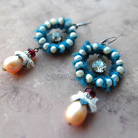 Bohemian assemblage mixed earrings / rustic romantic shabby / freshwater pearls, teal ribbon, Swarovski crystal, clear rhinestone, patina