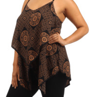 Plus Size Aztec Print Layered Chiffon Black Blouse, Plus Size Clothing, Club Wear, Dresses, Tops, Sexy Trendy Plus Size Women Clothes
