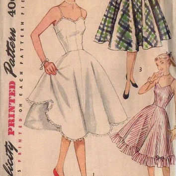 Simplicity 50s Sewing Pattern Misses Full Half Slip Petticoat Underskirt Full Circle Skirt Fitted Bodice Bust 33