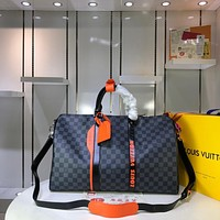 LV Louis Vuitton MEN'S DAMIER Graphite Pixel CANVAS KEEPALL 45 HANDBAG TRAVEL BAG