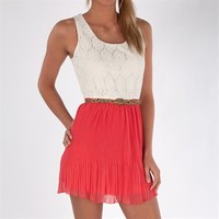 Sequin Hearts Juniors Pleats and Lace Dress with Belt at Von Maur