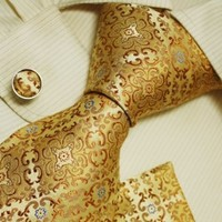 Gold pattern men with ties yellow christmas gift Italian style necktie cufflinks set H5108  Yellow
