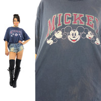 Mickey Mouse shirt Disney tshirt Navy blue oversize slouch tshirt Vintage 1990s Grunge tee shirt Graphic top XXL