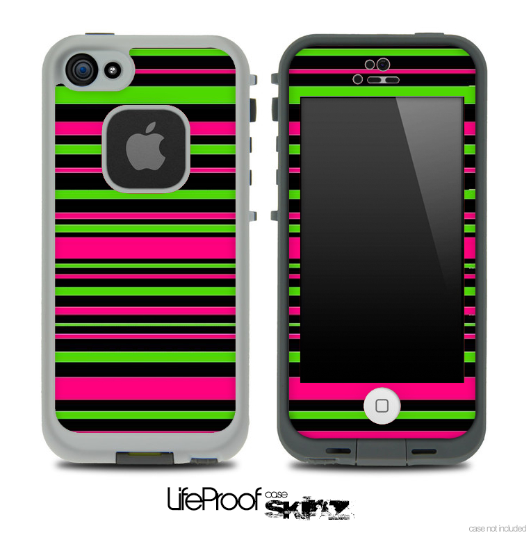 Image of Neon Pink & Green Stripes Skin for the iPhone 5 or 4/4s LifeProof Case
