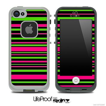 Neon Pink & Green Stripes Skin for the iPhone 5 or 4/4s LifeProof Case