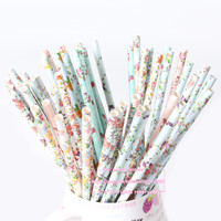 25pcs/lot Mix 5 Designs Floral Series Paper Drinking Straws for Wedding Party Birthday Halloween Christmas Decoration