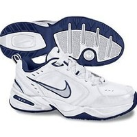Mens Nike Air Monarch IV Training Shoe White/Metallic Silver/Midnight Navy Size 10.5