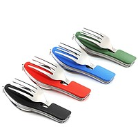 Behokic 3-in-1 Multi Function Stainless Steel Camping Utensil Set Folding Eating Tool Fork Knife Spoon for Outdoor Picnic Hiking