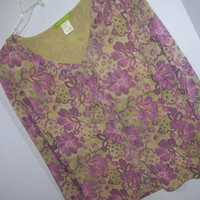 Knit Stretch, Top Blouse, Flora Print, Green Lilac, Sigrid Olsen, Size L Large, Casual Dressy, Resort Cruise Wear