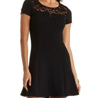 Textured Lace Yoke Skater Dress by Charlotte Russe