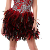 PRIMA C1301 Red Feather Short Dress