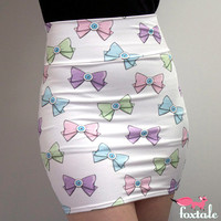 Pastel Eyebow Printed High Waisted Bodycon Skirt in White