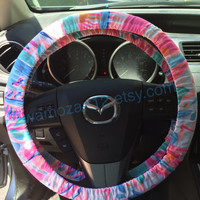 Steering Wheel Cover made with Lilly Pulitzer's Out to Sea fabric