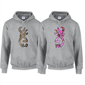 Hoodie Trendy - Browning Deer LOVE Camo Couples Hoodie available in Gray, White, Black, Green, and Red