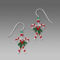 Sienna Sky Earrings - Crossed Candy Canes with Holly and Rhinestone