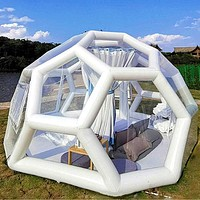 Stargazing Polygon Inflatable Bubble Partially Transparent Dome Igloo Tent