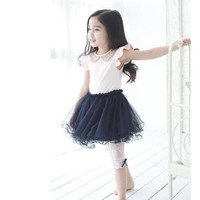 Retail summer children princess dress girl gold lapel short sleeve yarn tutu dress kid fly sleeve holiday party dress free shipping 2024