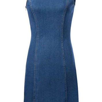 Blue Denim Serrated One-Shoulder Dress