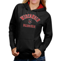 Wisconsin Badgers Womens Arch Mascot Logo Pullover Hoodie - Charcoal