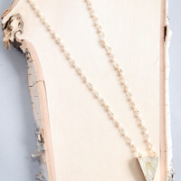 Faux Druzy Triangle Necklace Ivory