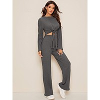 SHEIN Tie Front Rib-knit Top & Pants Set