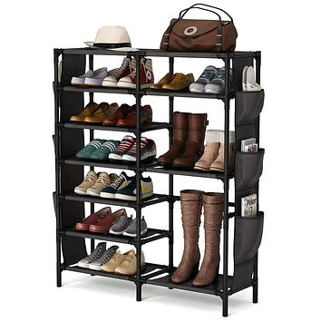 7 Tiers Shoe Rack 24-30 Pairs Shoe Storage Organizer Non-woven Shoe Shelf Boots Organizer